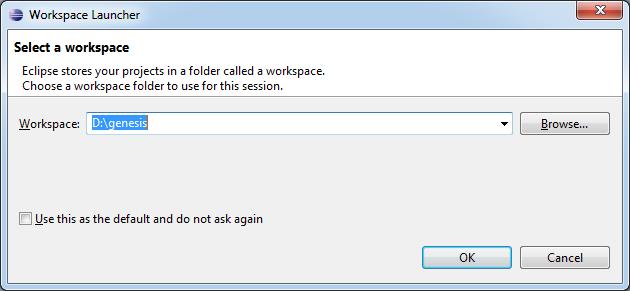 Choosing eclipse folder